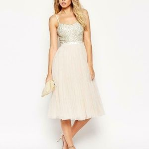 COPPELIA EMBELLISHED GAUZE and TULLE MIDI DRESS